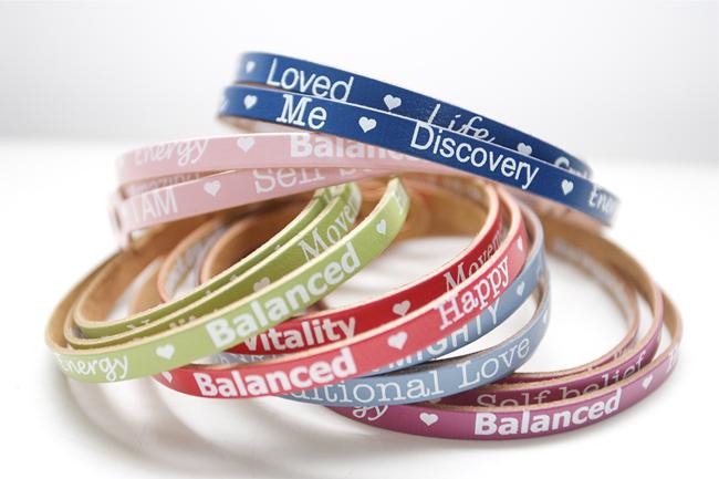 affirmation bracelet selection